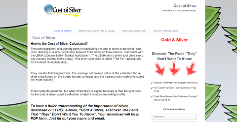 Cost of Silver Dmoz Directory Web Directory